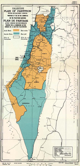 UNSCOP Palestine partition map, 1947